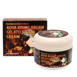 Паровой увлажняющий крем для лица с аргановым маслом Elizavecca Milky Piggy Aqua Rising Argan Gelato Steam Cream