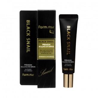 Премиум сыворотка для кожи вокруг глаз с черной улиткой FarmStay Black Snail Premium Rolling Eye Serum, 25мл