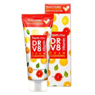 Воздушная очищающая пенка для сияния кожи лица с комплексом витаминов FarmStay DR-V8 Vitamin Foam Cleansing